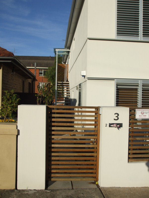 Randwick Steel Gate with timber fence