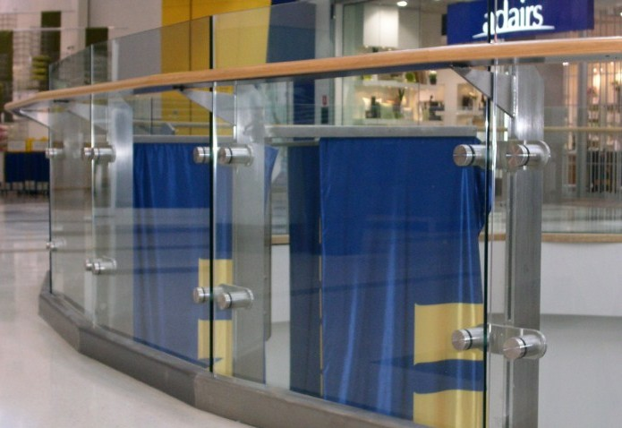Rhodes Shopping Centre Timber Handrail with Glass Balustrade